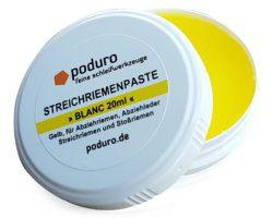 Dose mit Poduro Blanc Streichriemenpaste gelb