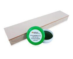 Streichriemen und Streichriemenpaste mit grünem Deckel